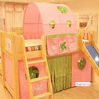 children bunk  loft bed curtain | windmill | girl