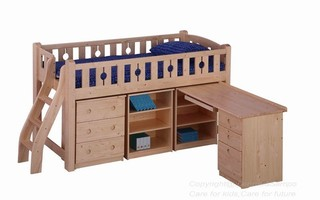 BL13D Loft Bed (medium height) (underneath Table, Drawer & Cabinet sold separately)