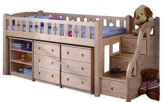 BL14B Loft Bed with staircase (medium height ,underneath drawer & cabinet sold separately)