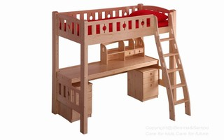 BL02B Loft Bed with ergonomic ladder (underneath Table, drawers & Shelf sold separately)