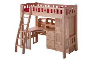 BL02B Loft Bed with ergonomic ladder (underneath Table & Wadrobe sold separately)