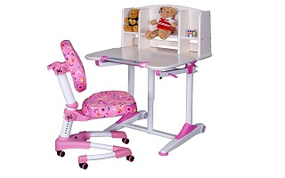 Solid Ergonomic Children Study Table Set (Whitewash color)