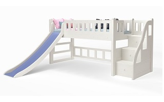 M014 Single | Super Single Modular Low Loft Bed with Staircase | Slider Loft Bed