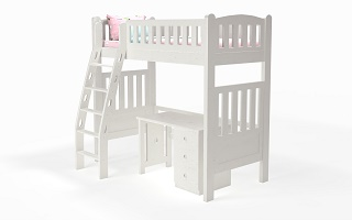 M202B Single | Super Single Modular High Bunk Bed | Loft bed with ergonomic ladder
