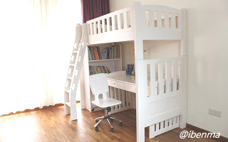 M202B Modular High Bunk Bed | Loft bed with ergonomic ladder