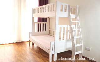 M202F Modular Loft bed and bunk bed with ergonomic ladder by side