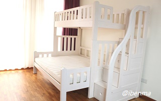 M301L Modular High Bunk Bed with staircase ( extendable bottom standard queen)