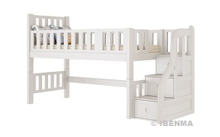 SM014  Modular Single or Super Single Loft Bed with storage staircase