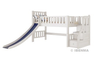SM014  Modular Single or Super Single Slider Loft Bed with storage staircase