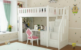 SM204B Single | Super Single Loft bed with Storage Staircase | Space Saving Bed
