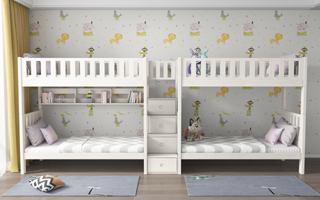 SM204A Cascaded Single | Super Single Bunk Bed  with Storage Staircase