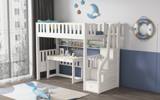 SM204B Modular Single or Super Single Loft  Bed with storage staircase