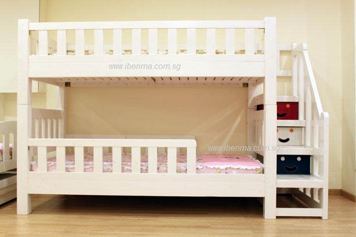 Bl21 Convertible Bunk Bed With Staircase Curtains