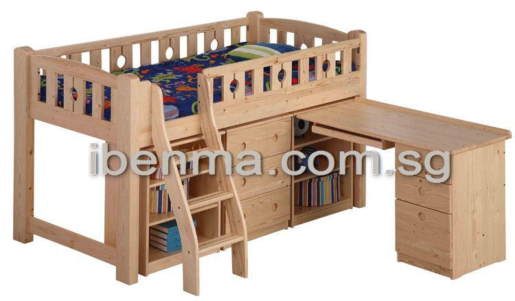 BL13B Loft Bed (medium height) (underneath Table, Drawer & Cabinet sold separately)