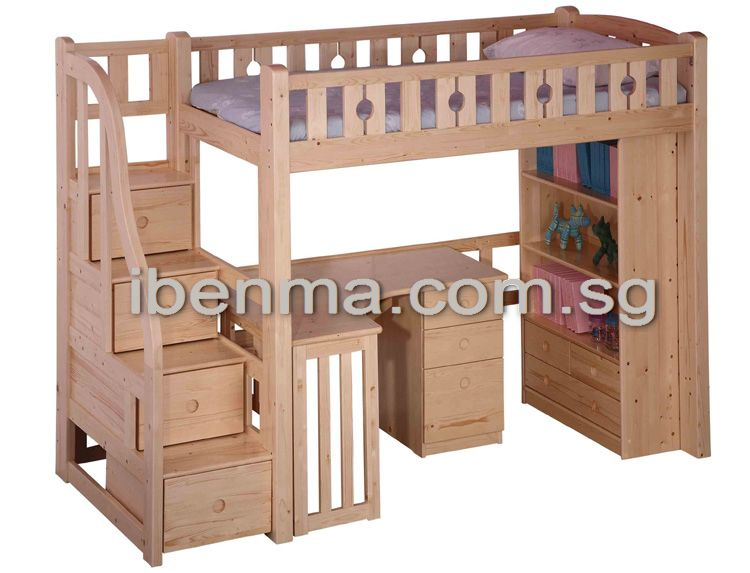 BL04B Loft Bed With Staircase (Desk U0026 Bookcase Sold Separately)