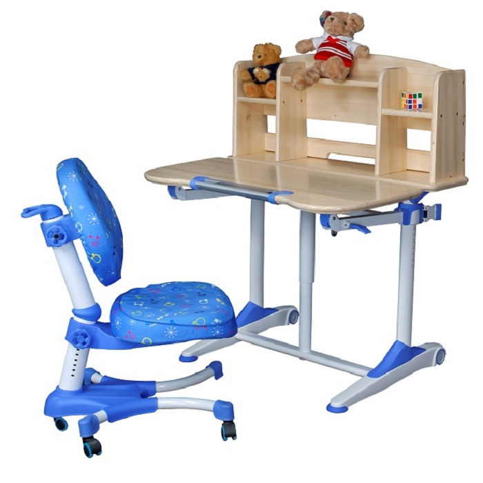 Solid Ergonomic Children Study Table Set Natural Pine Wood Color