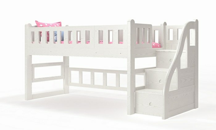 M014 Single | Super Single Modular Low Loft Bed with Storage Staircase