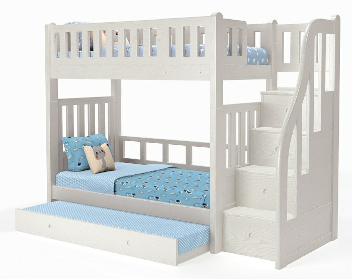 M204a Single Super Single Bunk Bed With Pullout Bed Convertible