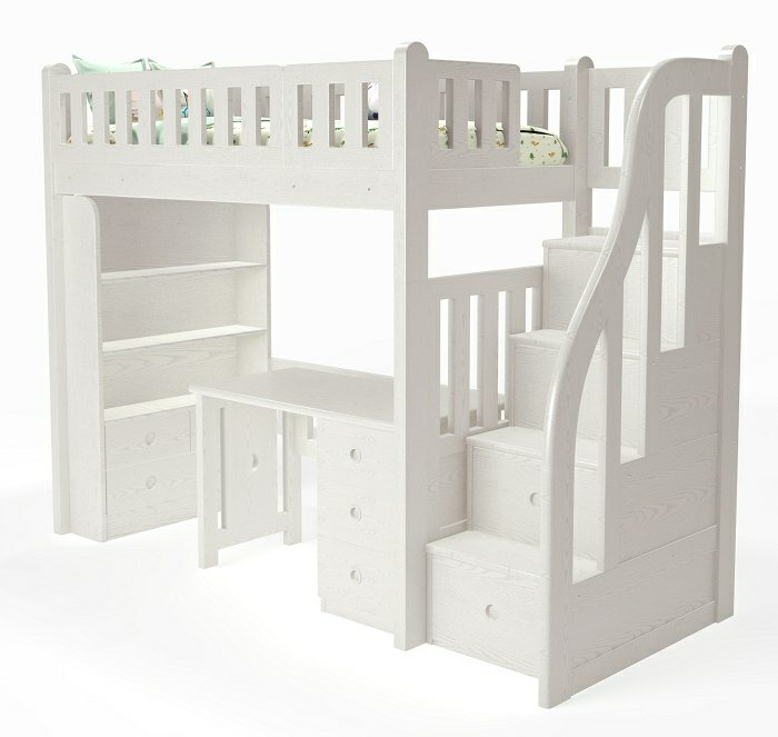 M204B Modular Loft Bed with staircase (Single or Super Single) (H1875mm)