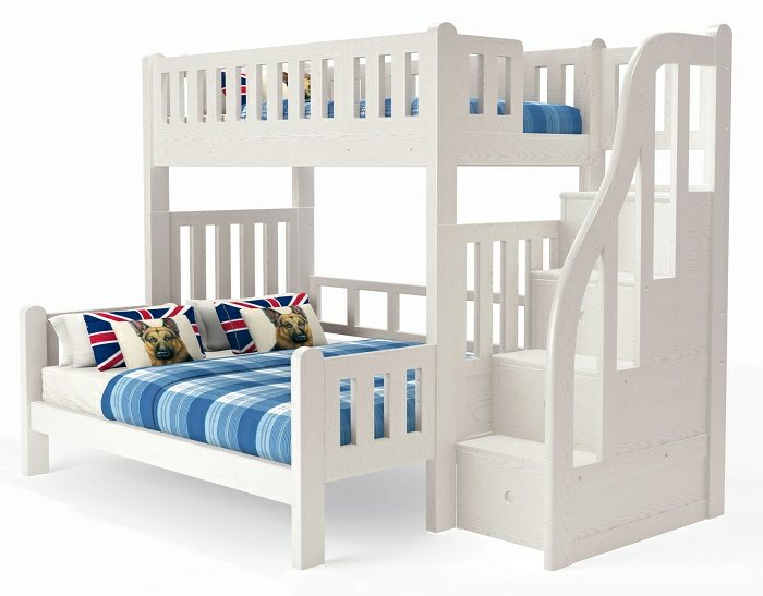 M301L Modular High Bunk Bed with staircase | extendable bottom standard queen