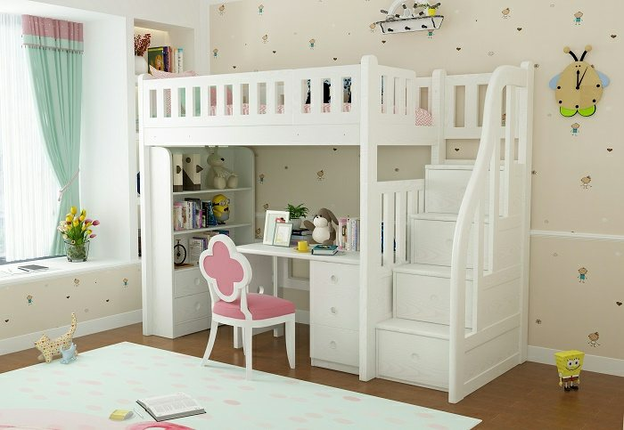 modular loft bed with study table space