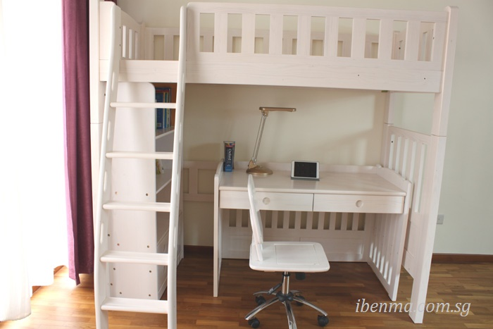 loft bed with study table below