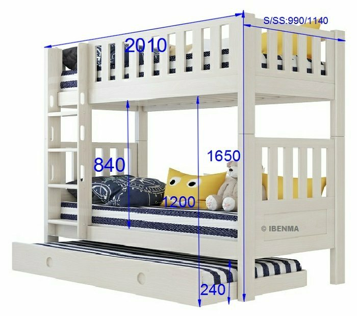 modular bunk bed size