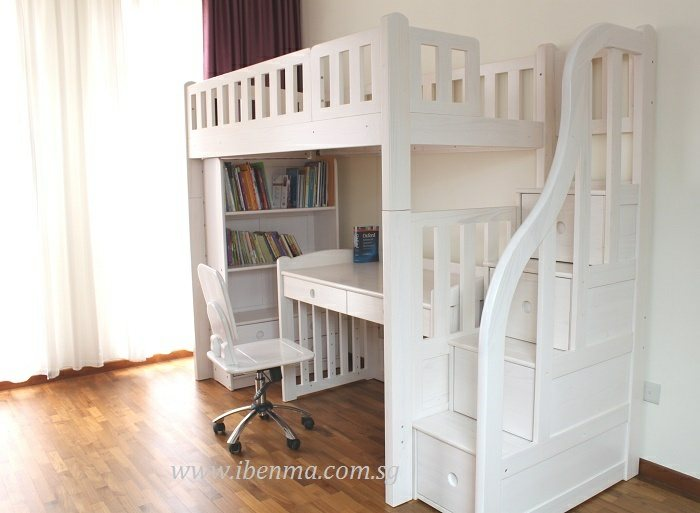modular storage loft bed with study table