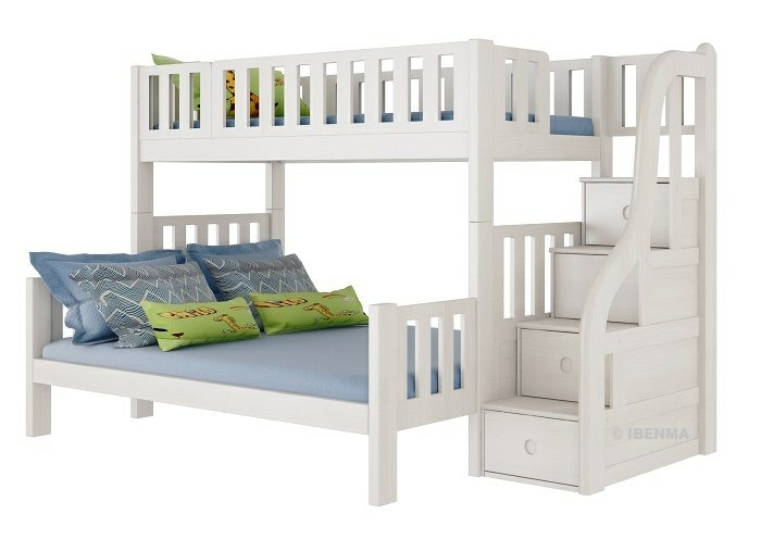 SM23L  Modular Single /Queen Bunk  Bed with storage staircase