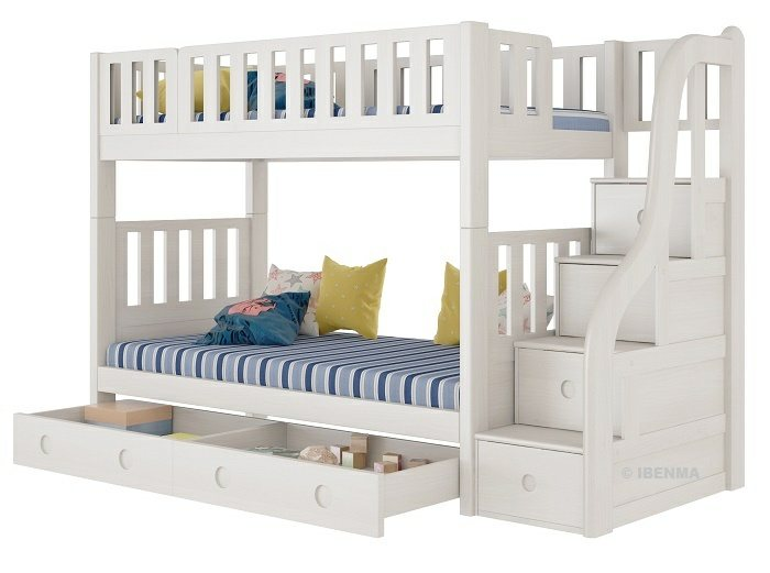 SM21A  Modular Single or Super Single Bunk  Bed plus Pullout Bed with storage staircase