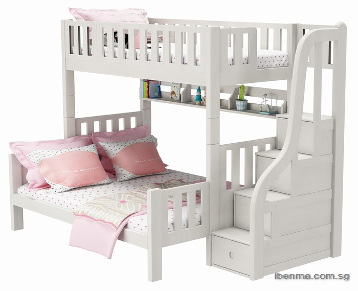 ibenma modular queen size bunk bed with Storage Bed