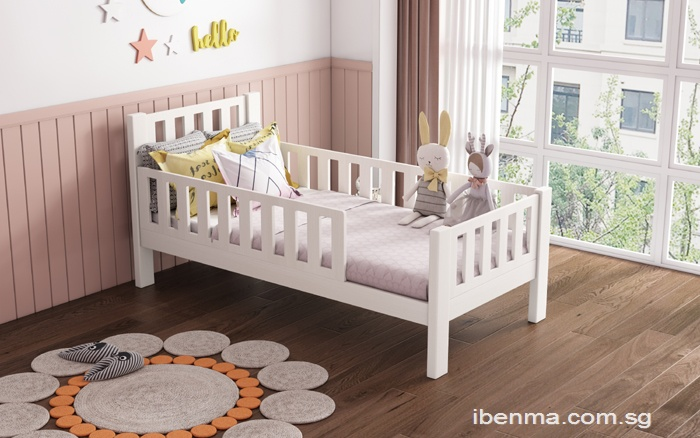 SM010 Modular Single Bed and Super Single Bed with Full Guardrail removable | Toddler Bed