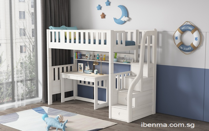 M204B Single and Super Single Modular Loft bed  with Storage Staircase