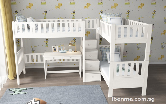 SM204A Single | Super Single Bunk Bed with Shared Staircase (L type )
