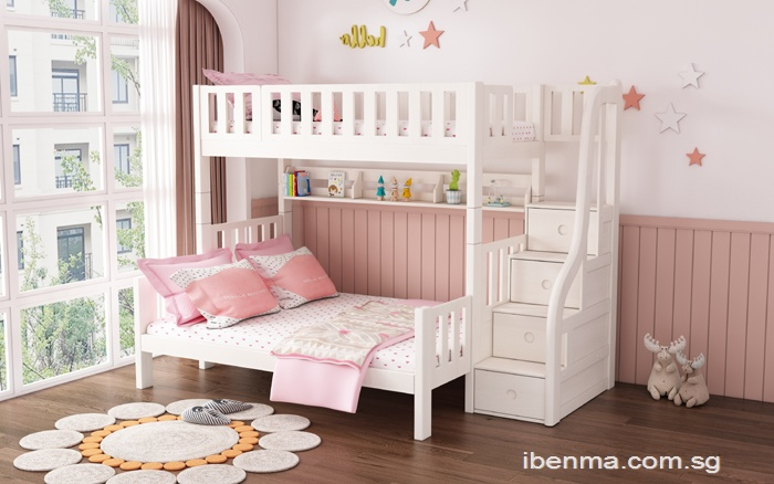 SM301L Queen bunk bed with staircase | queen storage bed